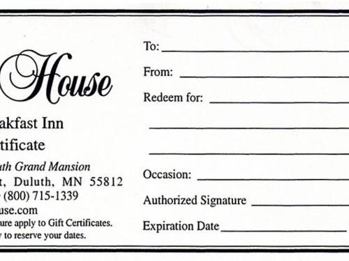 Gift Certificate | Olcott House Bed and Breakfast Inn | Duluth, MN ...