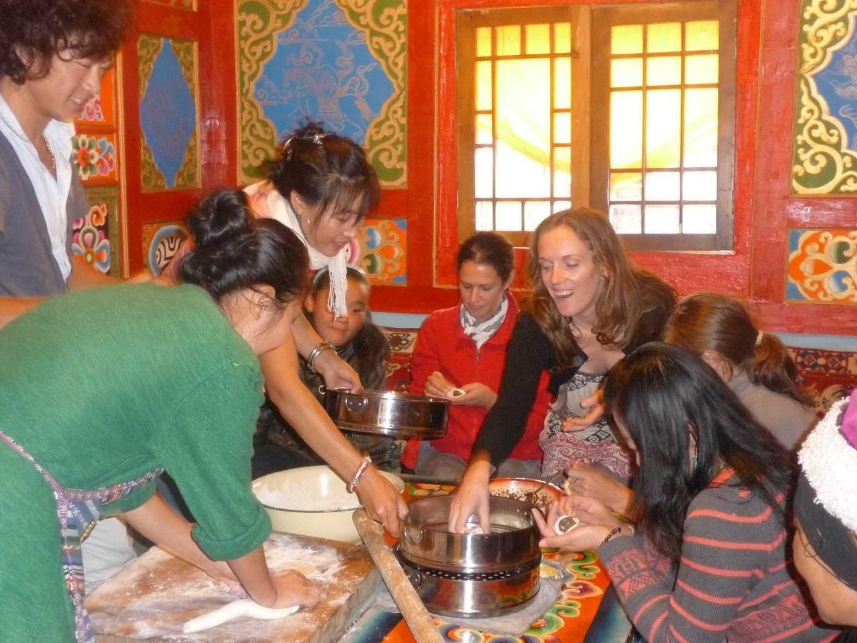 Guests making dumplings.