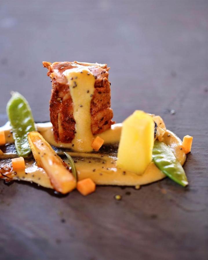 Pork loin with homemade honey ymustard mayo potatoes confit pumpkin.jpg