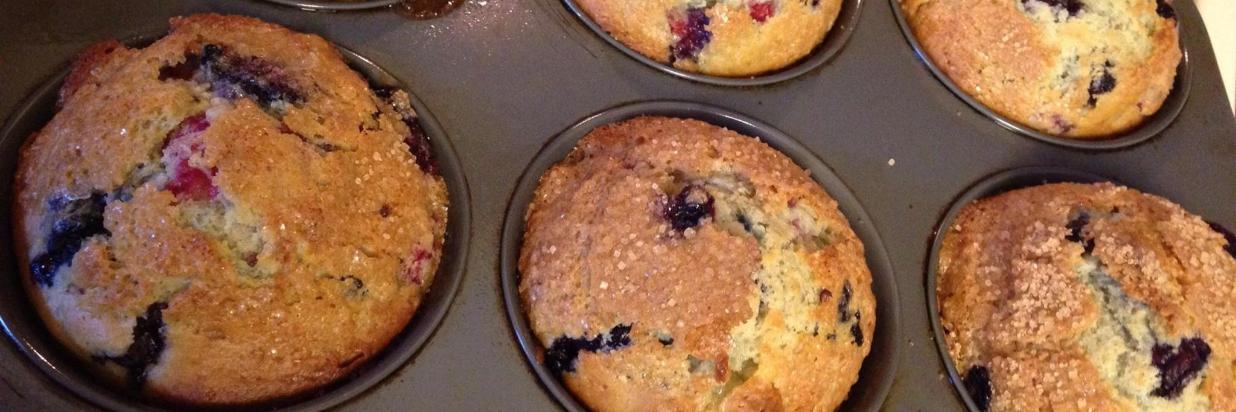 Triple Berry White Chocolate Muffins