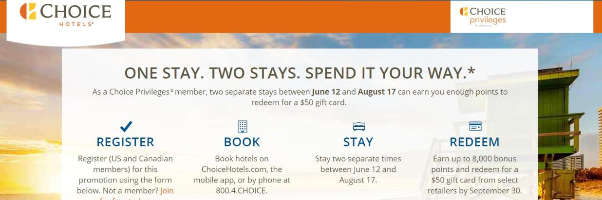 Stay Two Times, Earn a $50 Gift Card