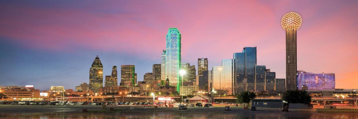 Dallas Texas cityscape with blue sky at sunset.jpg
