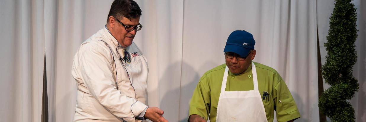 Chef Mongiello always thanks the hotel Chef on stage.jpg