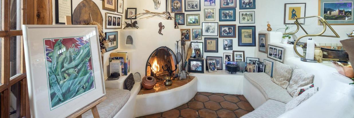 Cozy Kiva Fireplace in the Solarium