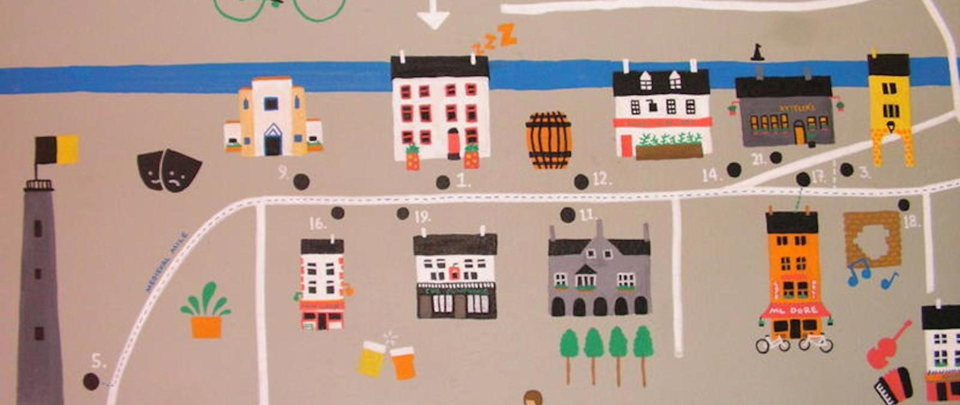 Kilkenny Tourist Hostel Mural at Reception