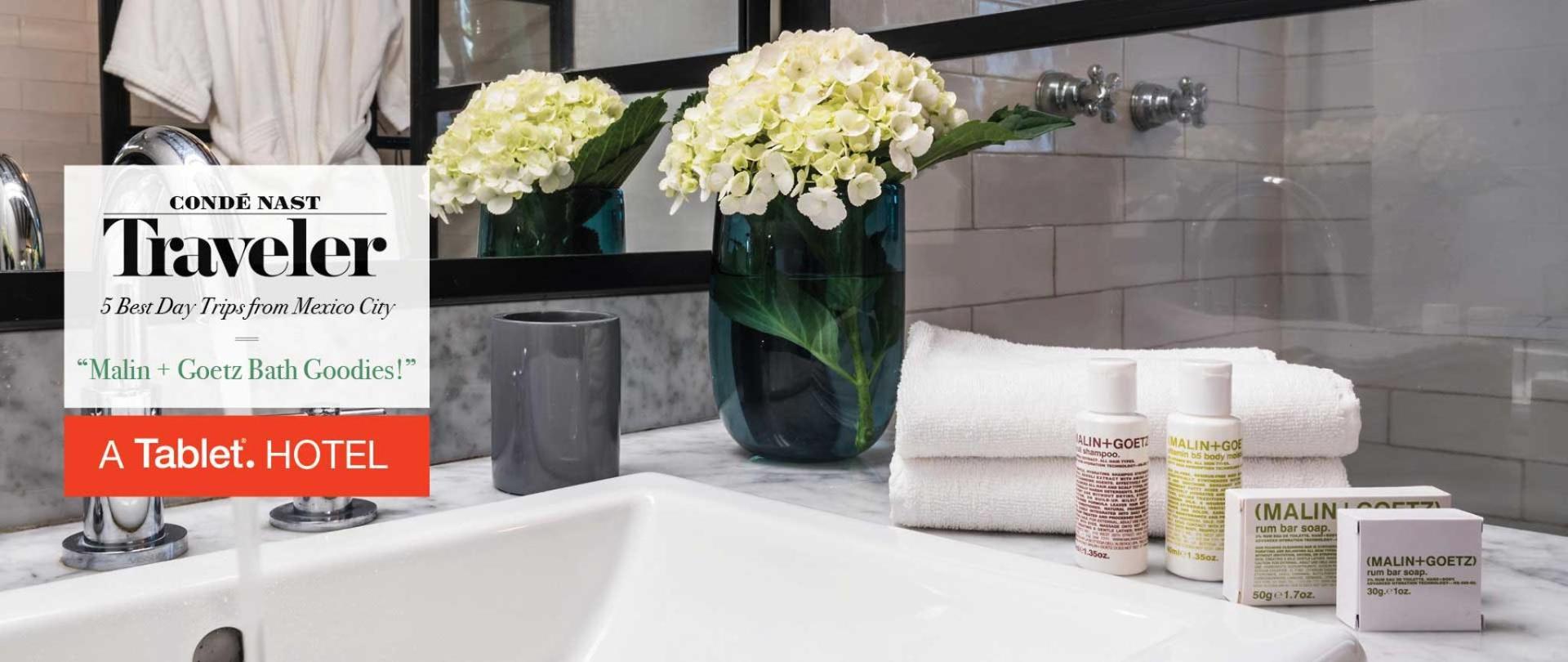 Todas nuestras habitaciones vienen abastecidas con artículos de tocador Malin + Goetz: Una de las mejores amenidades de baño de hotel. Las Casas B+B Boutique Hotel, Spa & Restaurante. The best boutique bed and breakfast in Cuernavaca