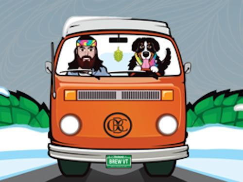 A cartoon image of a man and a dog in a orange van driving down a road.