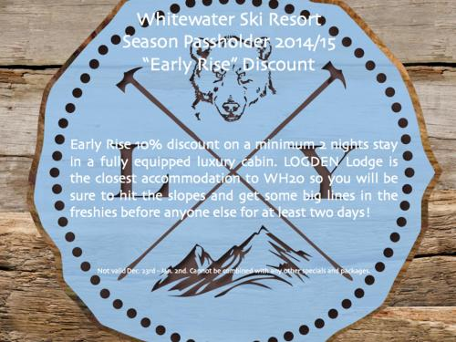 Sept. 30 - Early Rise discount for Whitewater Ski Resort pass holders