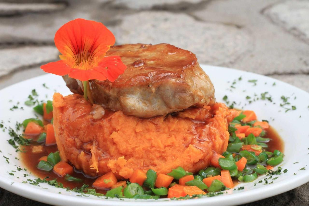 Pork steak with sweet potato