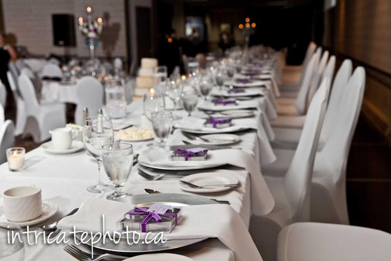 Purple and silver wedding decor