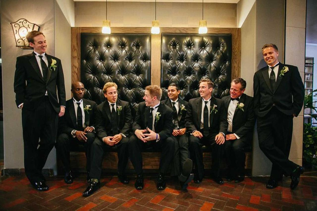 Groomsmen Hanging Out in Lobby