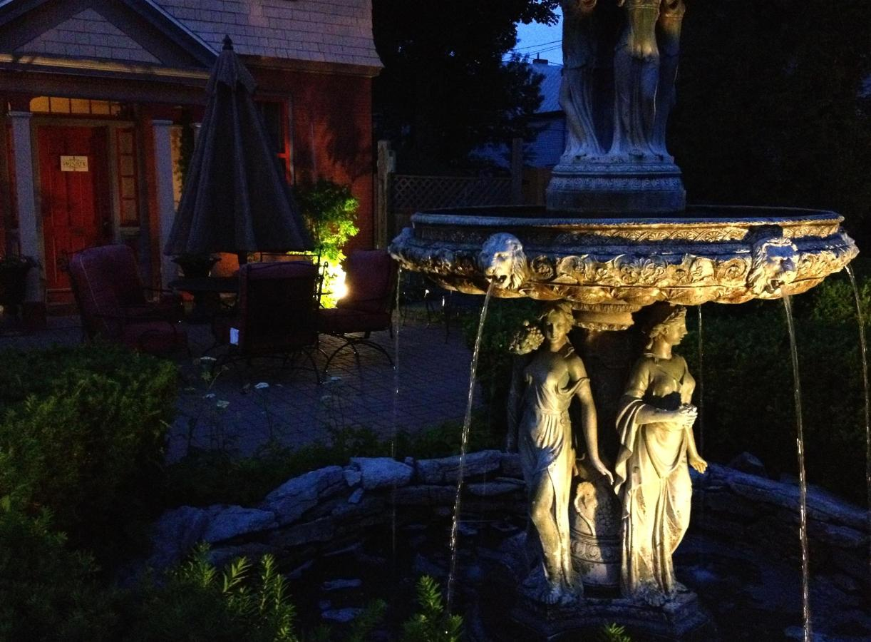 Union Gables Inn Saratoga Springs NY summer garden fountain