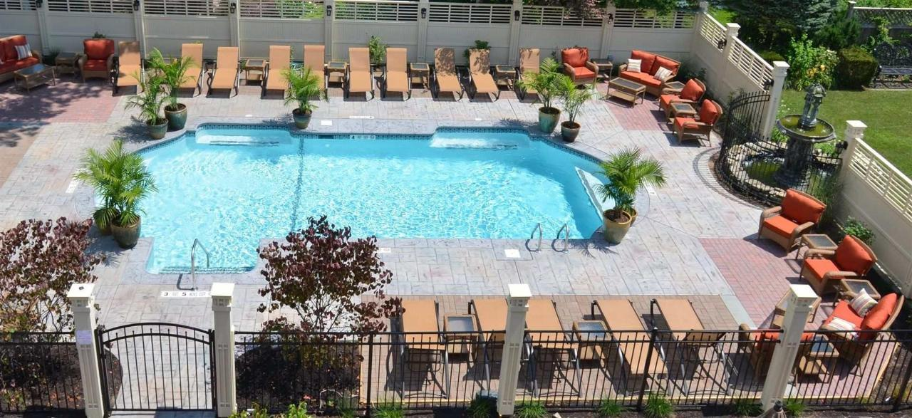 Birds Eye view of Union Gables Inn pool Saratoga Springs NY