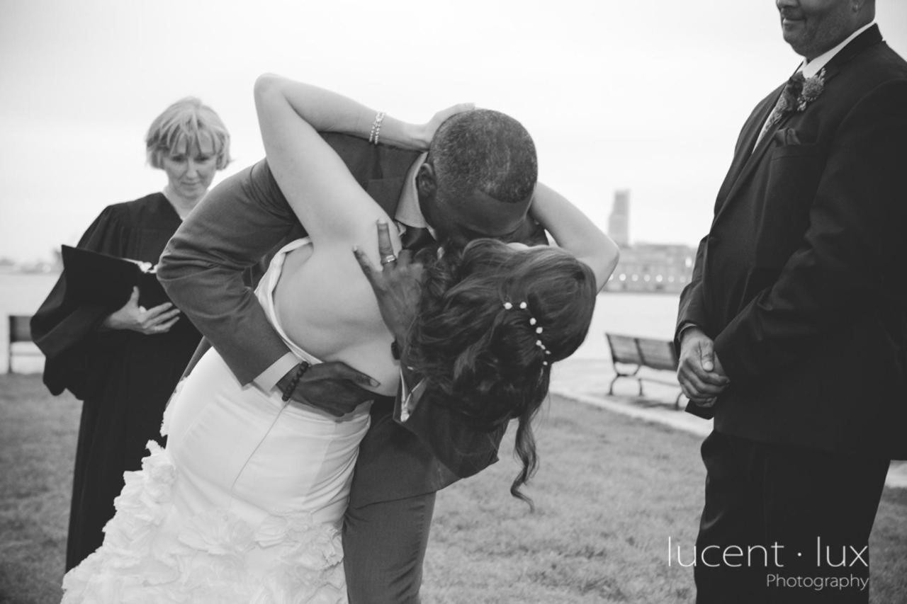 Admiral Fell Inn Bride and Groom First Kiss on Bond Street Shot by Lucent Lux Photography.jpg