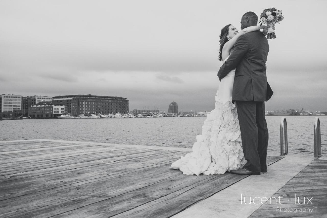 Admiral Fell Inn Bride and Groom Fells Point Waterfront and Kiss Shot by Lucent Lux Photography.jpg