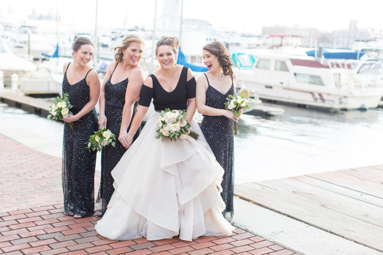 Admiral Fell Inn Bridal and Bridesmaids on Henderson's Wharf Marina Shot by Amy and Jordan Photography.jpg