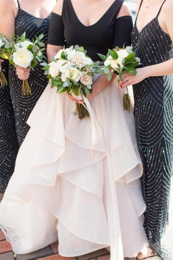 Admiral Fell Inn Bride and Bridesmaids Dresses and Flowers Shot by Amy and Jordan Photography.jpg
