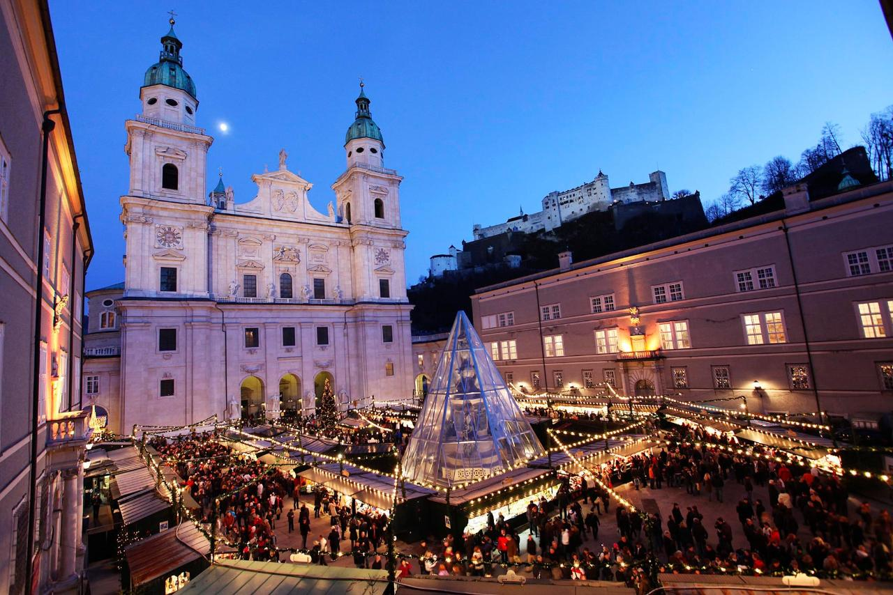 Salzburg Christmas Market on the cathedral square overlooking the fortress