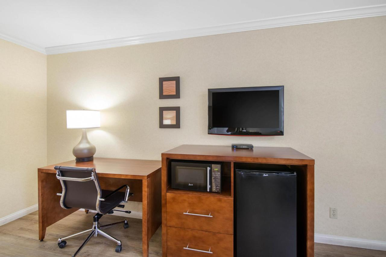 Desk, refrigerator and microwave, flat screen TV in all rooms